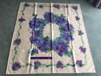 Hand painted table cloth with purple hydrangeas