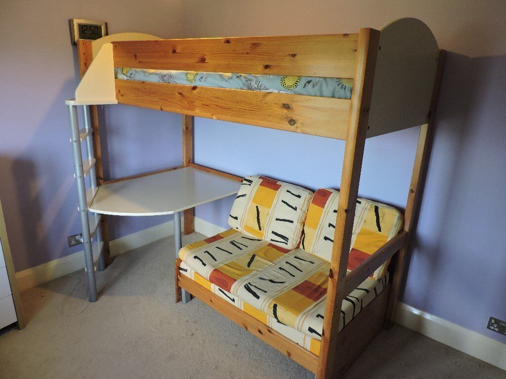 High sleeper bed with futonin Sherwood, NottinghamshireGumtree - Stompa solid pine high sleeper bed with futon underneath and table which can be used as a desk if desired.Great for sleepovers. Very sturdy with a few surface scratches but otherwise in good condition. Feel free to come and view. Full assembly...