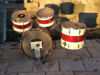 Vintage Premier Club drum kit (part).