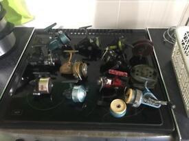 Fishing reels x12 Centrepin s fixed Spools Joblot