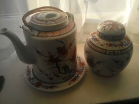 Set of large oriental teapot, ginger jar and plate