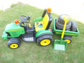 John Deere 12v Electric Ride On Toy Tractor & Trailer plus Extras (Pre-loved)