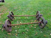 4 iron wheels with axles