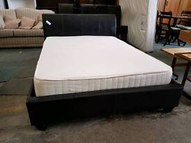Black leather double bed frame with memory foam mattress