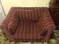 Red striped small sofa from Next