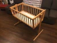 Wooden swing baby crib