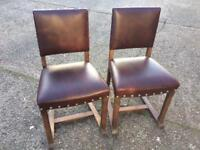 Pair of Oak/Leather Lounge Chairs