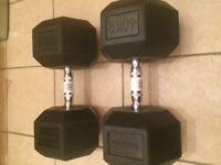 40kg rubber hex dumbbells (2 dumbbells)