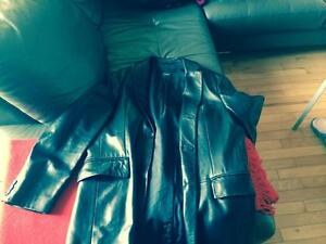 BRAND NEW Beautiful Authentic Black Leather Coat. NEEDS TO GO!!!