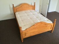 Solid Pine Double Bed & Mattress **Good Condition**