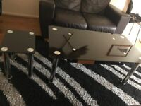 2 X black glass coffee table small and large in great condition