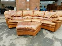 Large tan leather corner sofa