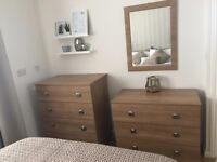 Bedroom furniture set including 2 drawers, 2 bedside cabinets and a mirror
