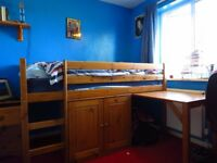 Childrens Bunk Bed with Pullout Desk and Cupboard. Mattress Included