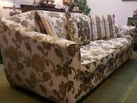 Gorgeous green, cream and gold 3 piece suite. 4 seater sofa and 2 armchair