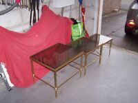 3 Brass and glass coffee tables