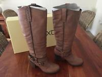 Knee High Tan Leather Boots. Size 3