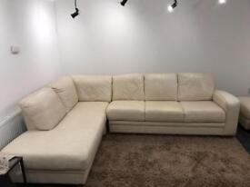 Leather sofa- 6 seater with foot stools