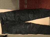 Leather motorcycle trousers Akita T force plus size 34""