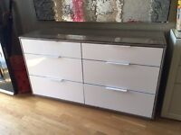 IKEA Chest of 6 drawers- WHITE/GLASS
