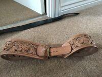 Light brown floral cut-out waist belt size medium