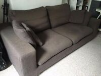 Dark Grey Fabric 3 Seater Sofa Made In Italy Feather Cushions