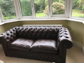 Genuine Chesterfield Sofabed for sale. Dark Brown Leather. Large 2 Seater. Nearly new-Mint condition