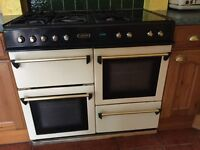 Leisure range cooker. 5 gas burners, two ovens, grill, drawer and warming plate