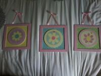 3 Decorative Pictures for Girls Room