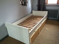 Child's Ikea single bed with drawer storage