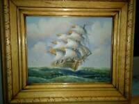 ORIGINAL OIL PAINTING OF GALLEON, IN FULL SAIL ON THE HIGH SEAS