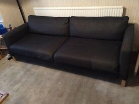 Ikea Comfortable Grey Large Two/Three Seater Metal Action Sofa Bed Good Condition Bargain