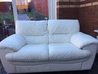 White leather 2 seater sofa