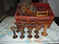 Box of vintage wooden spools