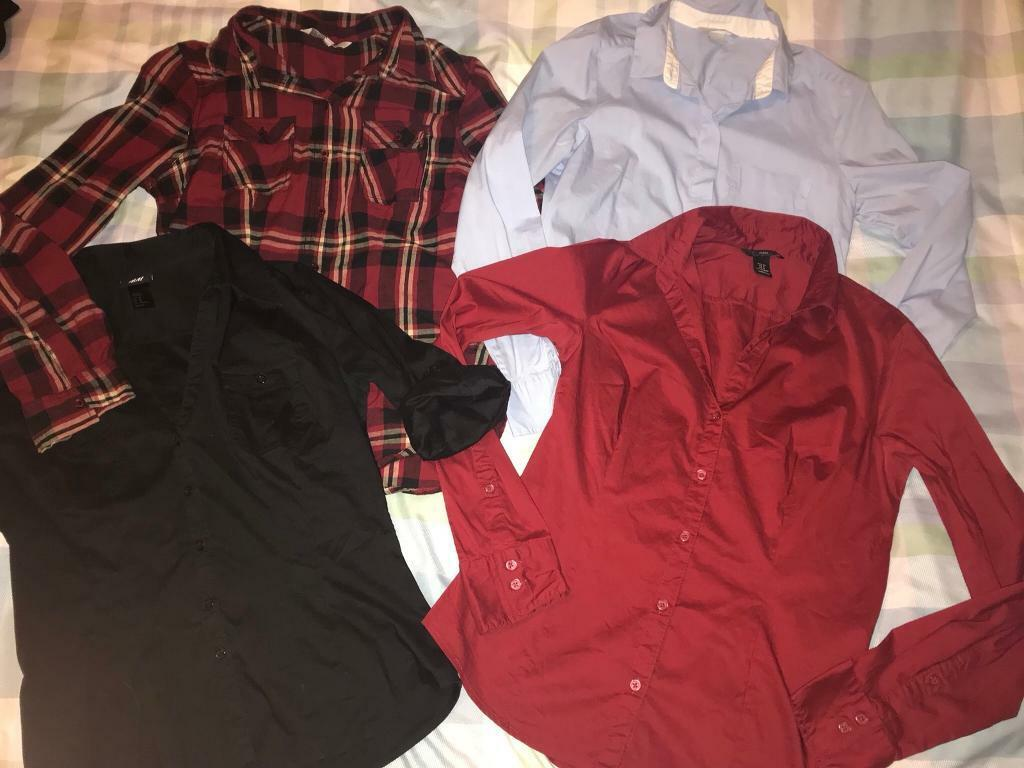 4 lovely stylish fitted shirts. H&M. Size 10