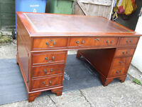 A large antique reproduction mahogany pedestal desk 5ft wide approx.