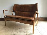Laura Ashley Whitworth leather sofa light brown leather