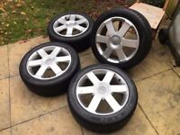 Audi A4 B6 B7 S4 Style Alloy Wheels & Tyre Package Alloys 5x112 7.5 x 17 inch , ET45 Tyres 235/45/17