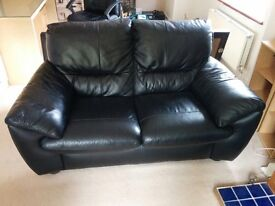 Black leather sofas 3 and 2 seaters. Can be sold separately for £100 each or both for £150.