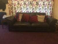 3 seater and 2 seater lovely chocolate brown leather sofas