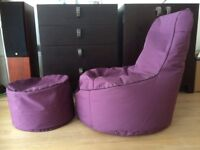 Purple bean bag lounge chair/pouffe with foot rest- pick up by July 22