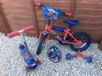 Spiderman bike and scooter bundle