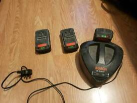 36v bosch charger and 3 batterys