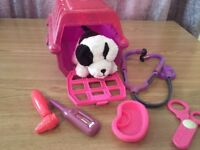 Dog carrier and dog with vet equipment
