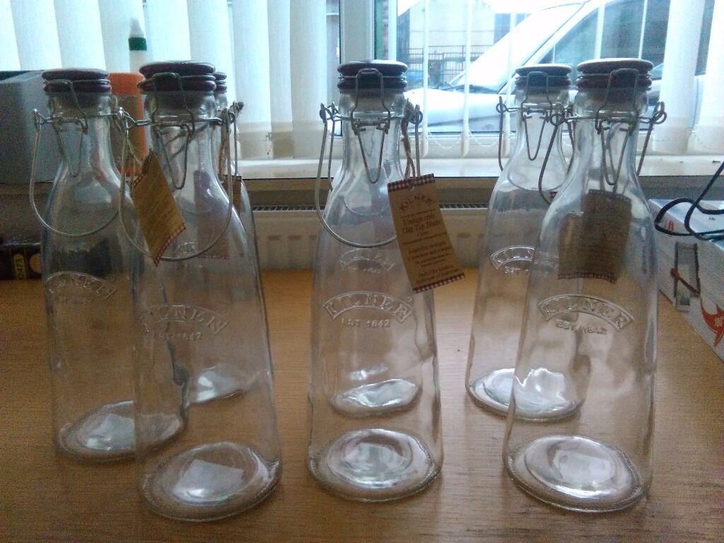 7 x Kilner Vintage Glass Clip Top Bottle 1L Litre