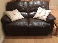 2 seater and 3 seater brown leather reclining sofas