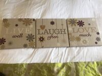 Set of three live laugh love canvas plaques 12×12 inches 30×30 cm in perfect condition from next