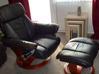 Mars brown Leather recline swivel chair plus stool (HSL)