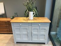 Quality Priory solid wood sideboard hand painted pale grey