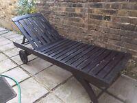 2 x SUNBATHING chair recliner sunlounger BED TEAK wood sundeck garden furniture sunbed